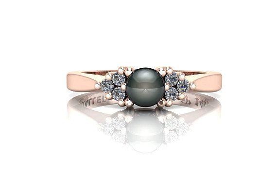 14k Rose Gold Engagement Ring, Black Pearl Ring, diamond pearl ring, Black Pearl Engagement Ring, black tahitian pearl rings, pearl ring