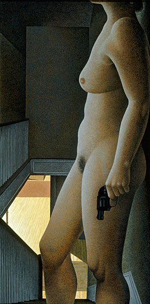 "Alex Colville,   "" Woman With Revolver,1987""  acrylic polymer emulsion on hardboard"