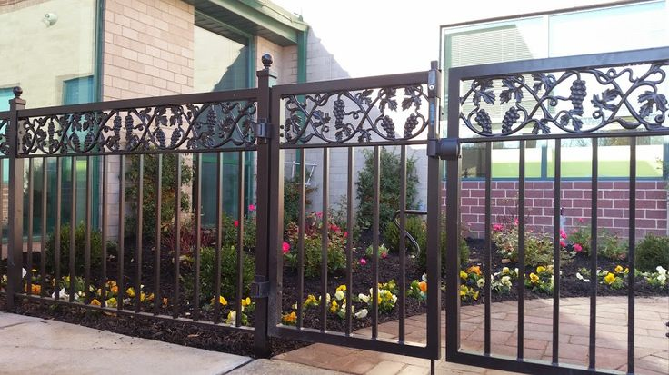 short fence and gate section with grape vine motif at top