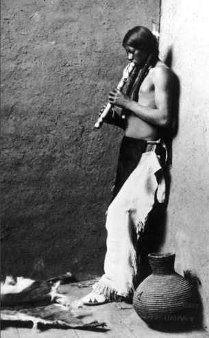 Native American Flute Player, about 1908  Library of Congress