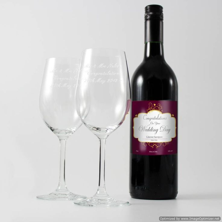 Personal Touch Gifts - Wedding Red Wine and Two Glasses, £49.99 (http://personaltouchgifts.co.uk/wedding-red-wine-and-two-glasses/)