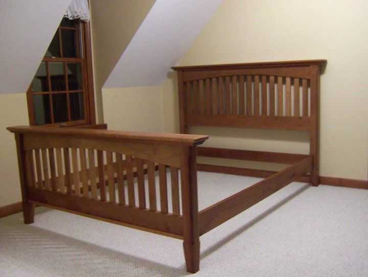 Cherry bed frame google search s pinterest for Mission style bed frame plans