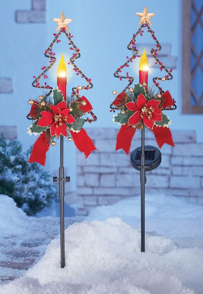 Solar Christmas Candle Garden Stakes Set Of 2 Acoutlet Decor Gifts Holiday Decor Christmas