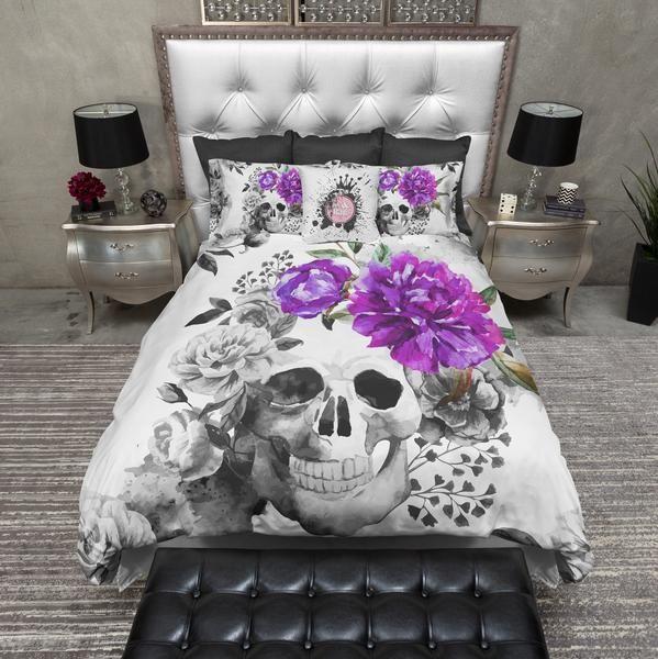 Purple Flower Watercolor Skull Duvet Bedding Sets