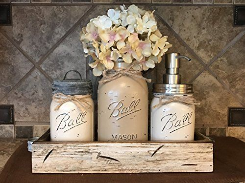 Ball Mason Jar CANISTER 5pc SET with galvanized lid Antique WHITE wood Tray Utensil matcha tea holder Soap Dispenser Kitchen Bathroom counter decor flower optional JARS Distressed Gray Tan Cream ** You can find more details by visiting the image link. #DecorativeAccessories