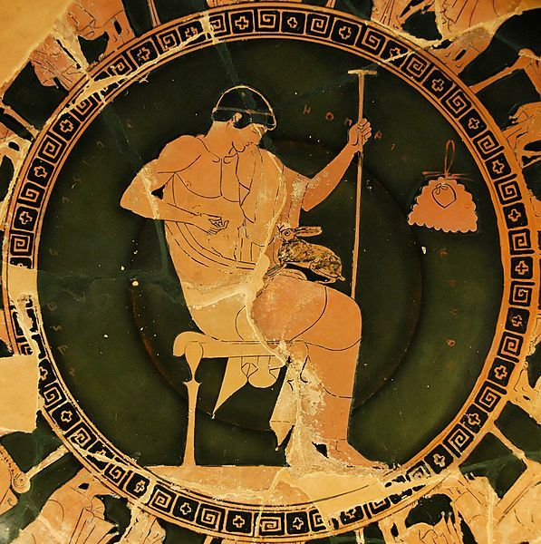 Douris (fl. c. 500 - 460 BCE), painter (signed); Python (BCE), potter (signed), Musée de Louvre, Paris G 121 (488/487-475 BCE). Red-figure kylix. Tondo detail.