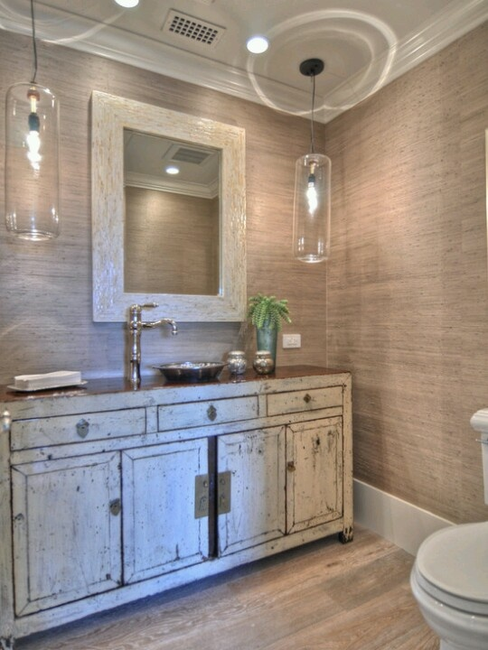 Beach Bathroom Distressed Cabinets