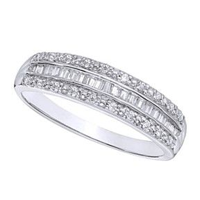 1/4 Carat Natural Baguette Diamond Band In Solid 10K White Gold by JewelryHub on Opensky