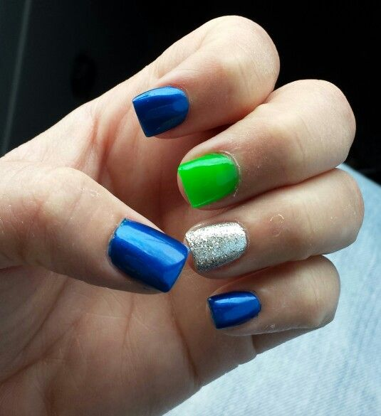 Got my nails did today for the Seahawks game tomorrow! ♥ them