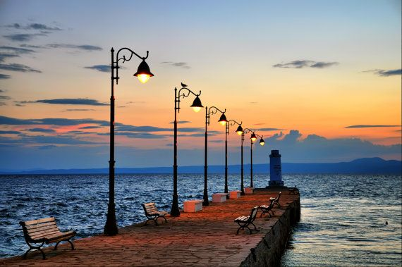 lighthouse at dawn, Travel Photography, Fine Art Photography, home decor, sea, Halkidiki, Greece,