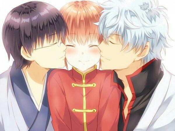 Anime: Gintama Personagens: Sakata Gintoki, Shimura Shinpachi e Kagura