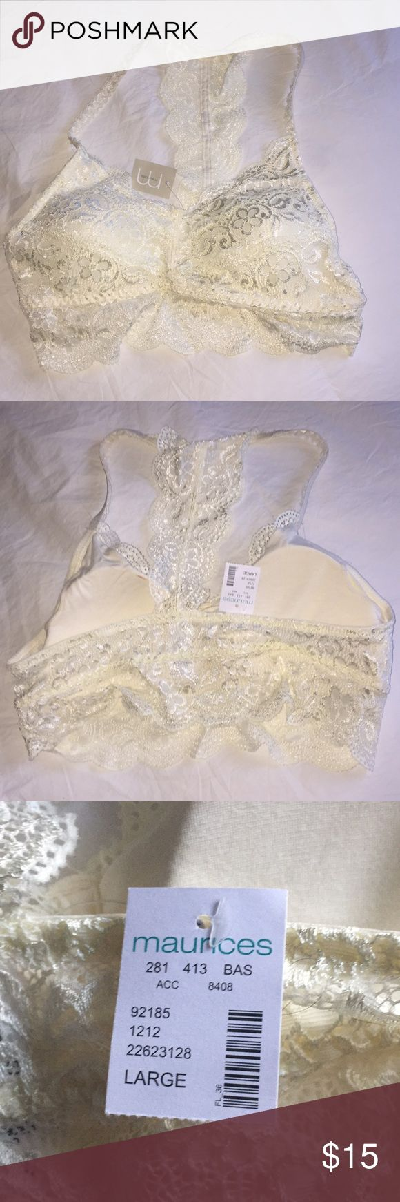NWT Maurice's lace racer back bra Ivory lace size large bra from Maurice's. Maurices Intimates & Sleepwear Bras