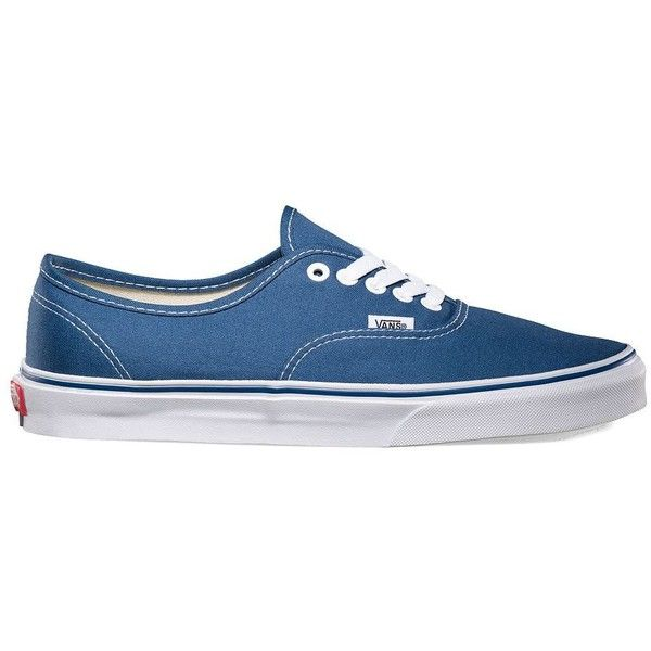 Vans Authentic ($50) ❤ liked on Polyvore featuring shoes, sneakers, vans, navy, blue, lacing sneakers, navy blue sneakers, vans trainers, laced shoes and vans shoes