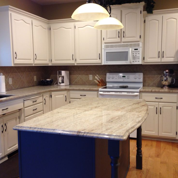 Antiqued Marble Countertops: Astoria Granite, Pittsburg Paints Antique White Cabinets And Pittsburg Paints Oswego Tea On The