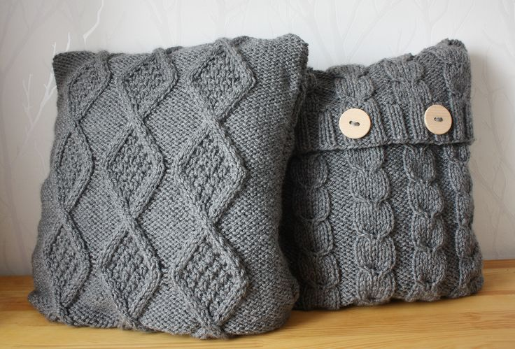 Grey hand knitted pillow covers Cushion Cable knit Sweater pillow
