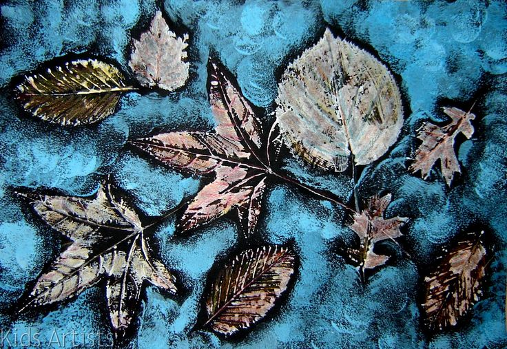 You need: black construction paper A4 size flat dried autumn leaves white tempera and another cool colour brush colour pencils piece of sp...