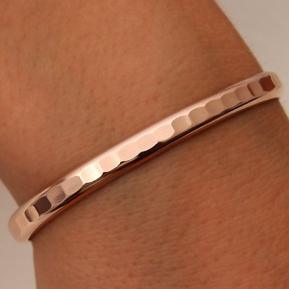 Thick Hammered Cuff Bracelet Rose Gold Filled by DavidSmallcombe