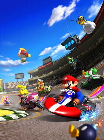 A poster that represents Mario Kart Wii, featuring many of the main characters from the game and franchise.