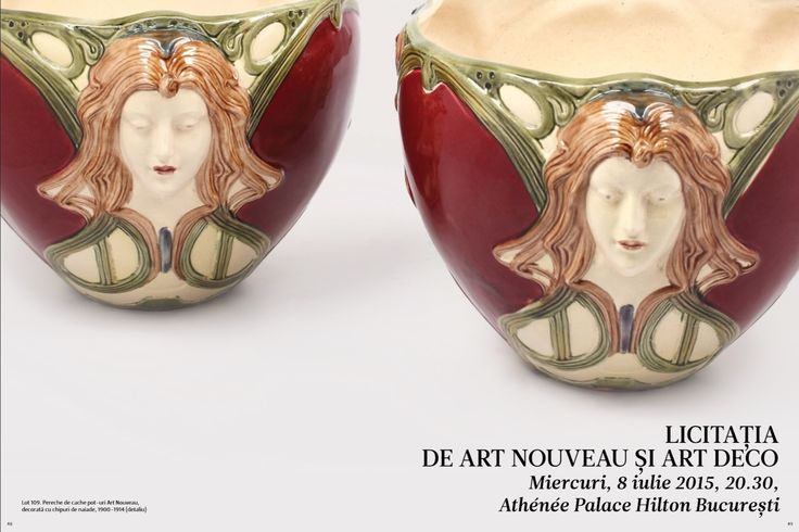 Catalog Artmark Licitatia de Art Nouveau si Art Deco 2015! Recomandari: Carafa Art Nouveau din bronz doré, decorata cu ramuri de pin, cca. 1900.