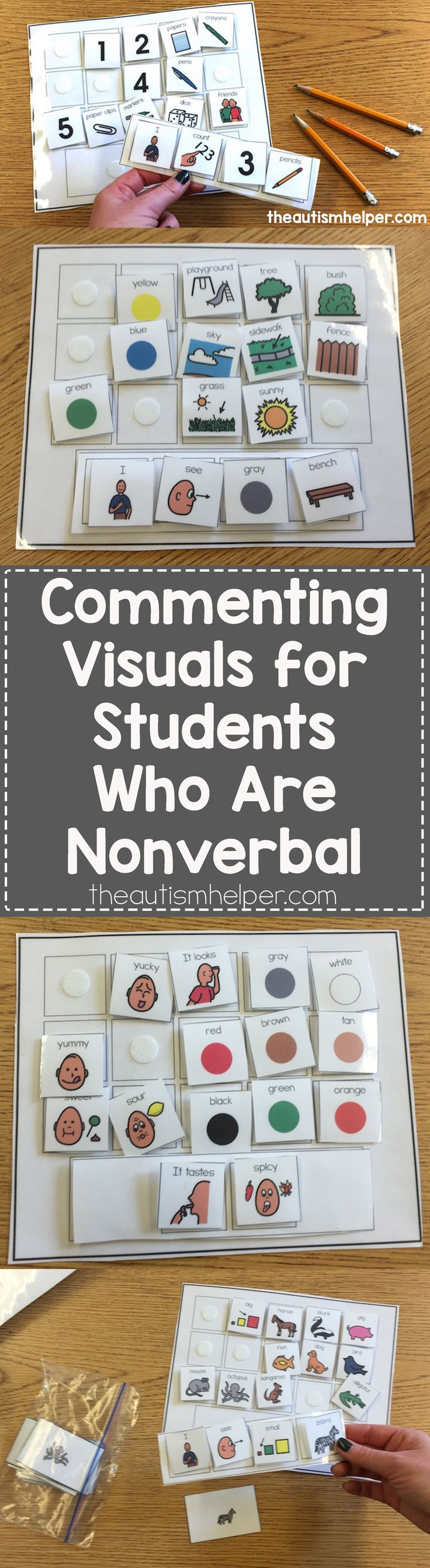 Helps students who struggle with verbal language push visual communication beyond requesting to engage in more complex communicative responses! From theautismhelper.com #theautismhelper
