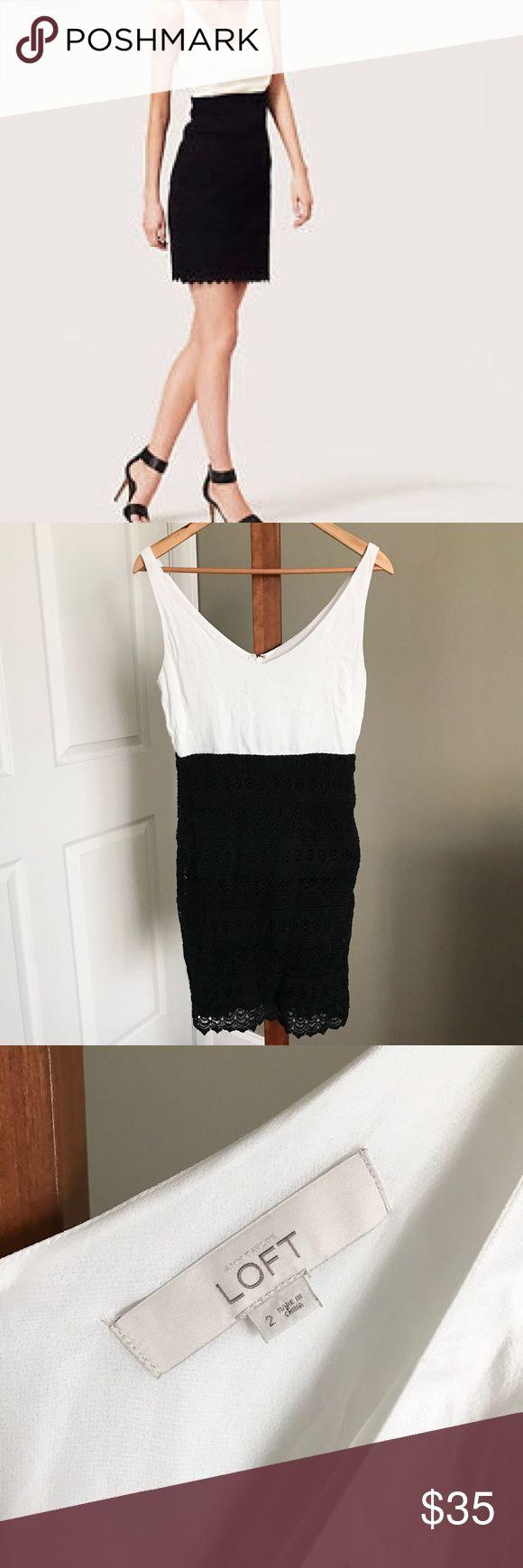 LOFT Lace Trim Tank Dress Super cute and flattering LOFT dress. Black crochet fabric on the skirt portion. Size 2. Excellent condition. LOFT Dresses
