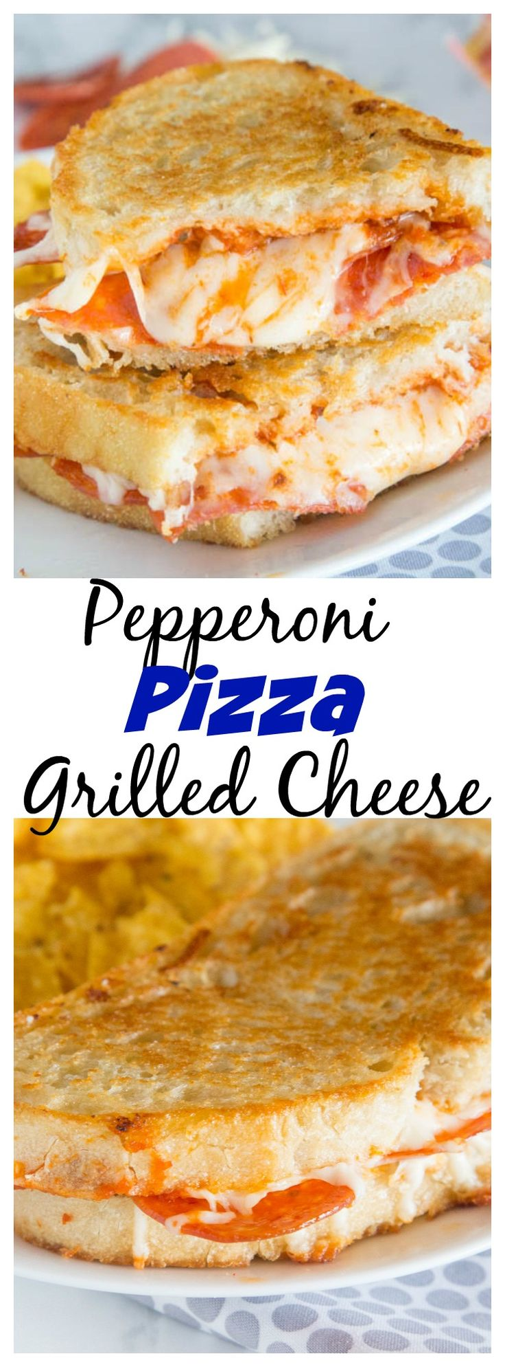 Pepperoni Pizza Grilled Cheese Sandwich – Take your favorite grilled cheese sandwich up a notch and make it taste like pepperoni pizza!