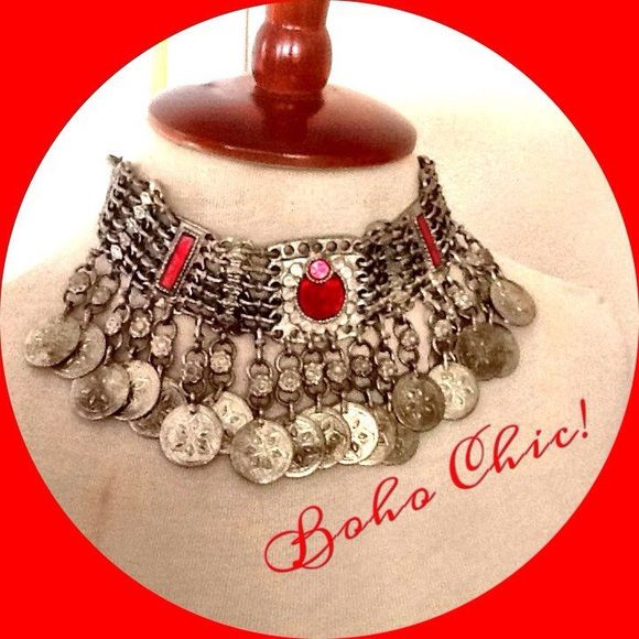 SALE! Gypsy Coin Choker Necklace W/ Red Glass  Absolutely stunning silver coin choker with red glass inserts. Even nicer than Urban Outfitters, but very similar. Nice heavy weight. Purchased at a bohemian store in Venice Beach, CA. The real deal. Urban Outfitters Jewelry Necklaces