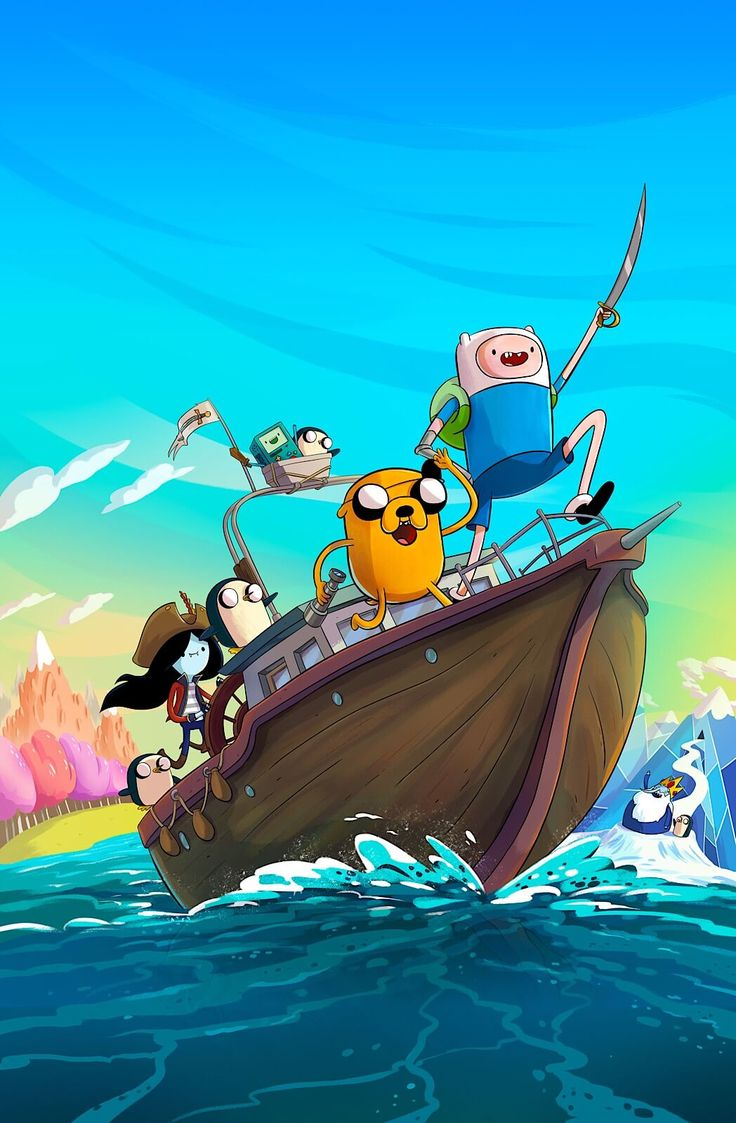 Finn,Jake,Marceline,Gunthers,and,Bmo set sail for a pirate adventure.