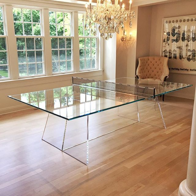 A Glass Ping Pong Table We Can Do That We Etched Court Lines Onto This 3 4 Inch Tempered Glass T Tempered Glass Table Top Glass Table Glass Dining Room Table