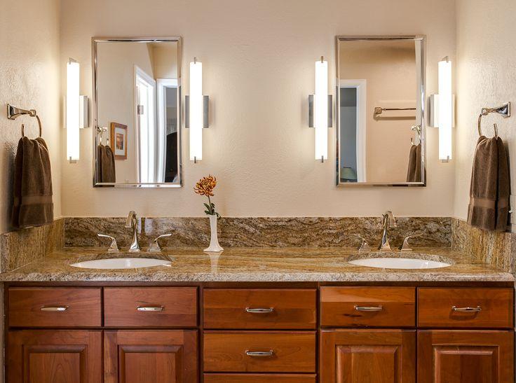 double vanity with semi custom cabinetry below bathroom design denver