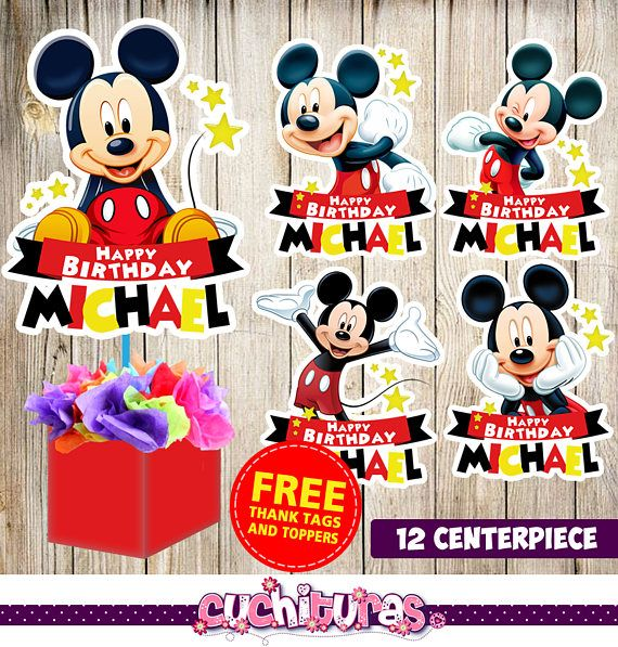 12 Mickey Mouse centerpieces, Mickey Mouse printable centerpieces, Mickey Mouse party supplies, Mickey Mouse birthday, Favors, decorations