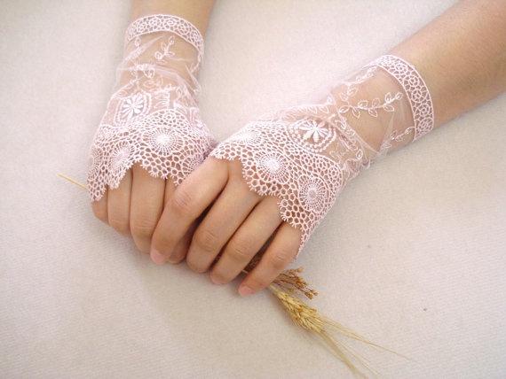Dusty Rose Wedding Gloves Lace Wedding Accessory Bridal by bytugce, $29.00