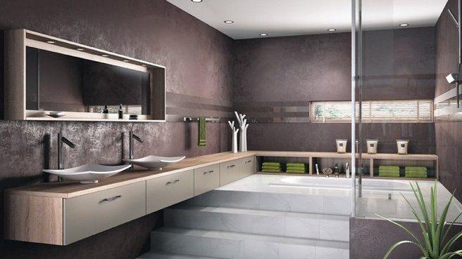 salle de bains zen : vasque, couleurs,blanc, beige et vert, meubles suspendus pour l'impression d'espace