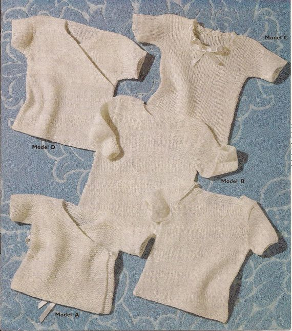 449801419 Vintage knitting patterns for baby vests