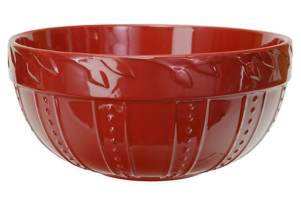 One Kings Lane - The Festive Cook - Large Sorrento Mixing Bowl, Ruby