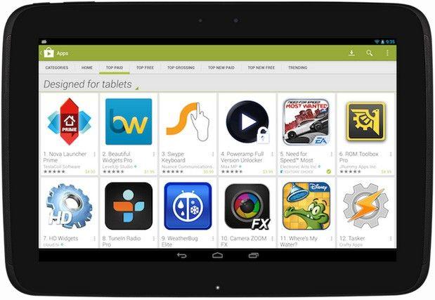 Google Play muestra por fin las apps optimizadas para tablets