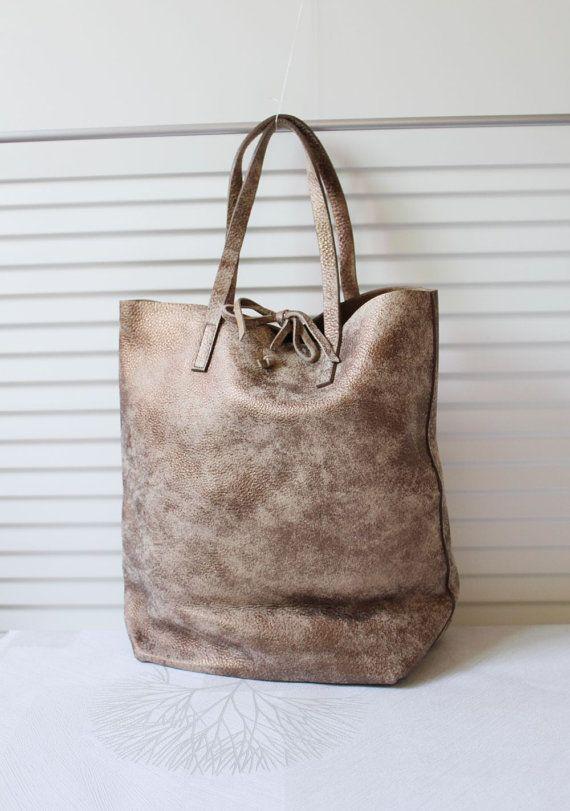 Washed Cowhide Soft Shrunk Leather Bag( Vintage Bronze)
