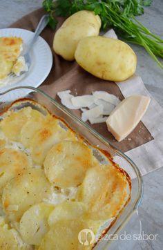 Gratín de papa o papas a la crema gratinadas www.pizcadesabor.com