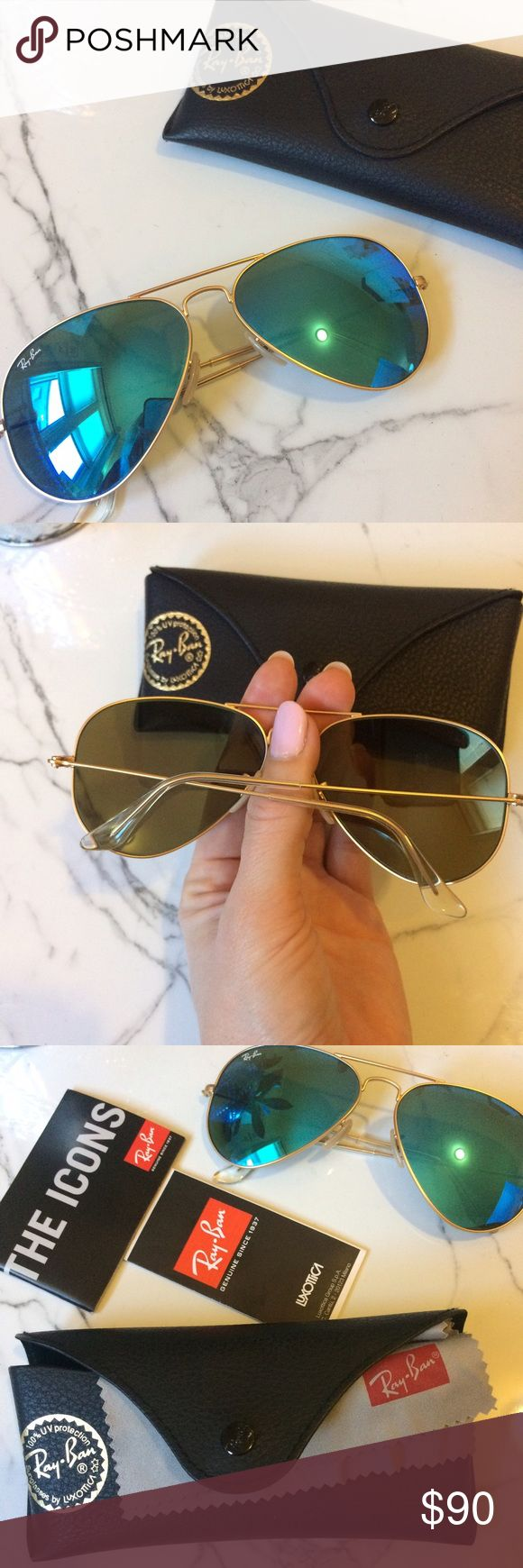 Ray Ban Large Icon Aviators Gold/Aqua Blue Excellent, like-new. Only worn a handful of times. Ray-Ban Accessories Sunglasses