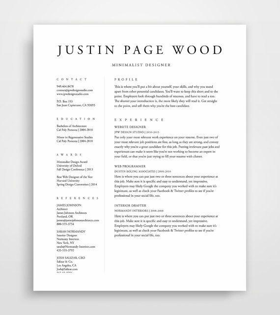 25+ beautiful Simple resume template ideas on Pinterest Resume - example of simple resume