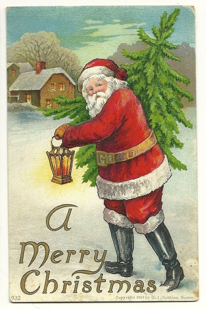 Embossed Santa Claus Christmas Tree Lantern Holiday H I Robbins Postcard Merry Christmas Vintage Merry Christmas Drawing Vintage Christmas Images