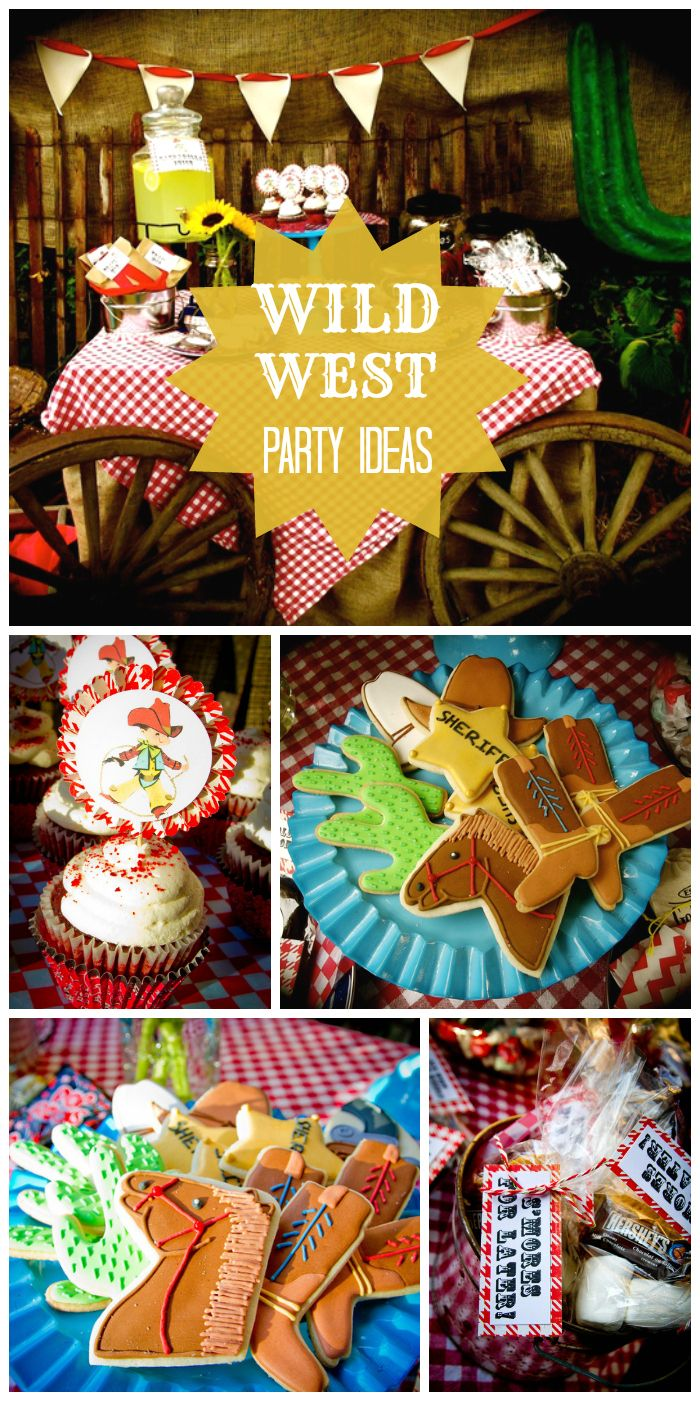 A Wild West boy birthday party with a wagon dessert table, amazing decorated sugar cookies and cupcakes with vintage toppers! See more party ideas at CatchMyParty.com!