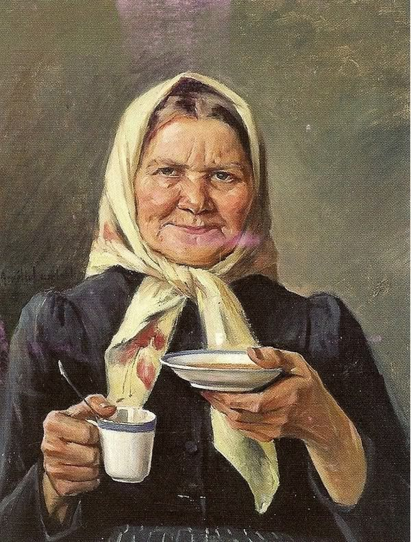 Amélie Helga Lundahl (1850-1914): Grandmother Drinking Coffee - Finland