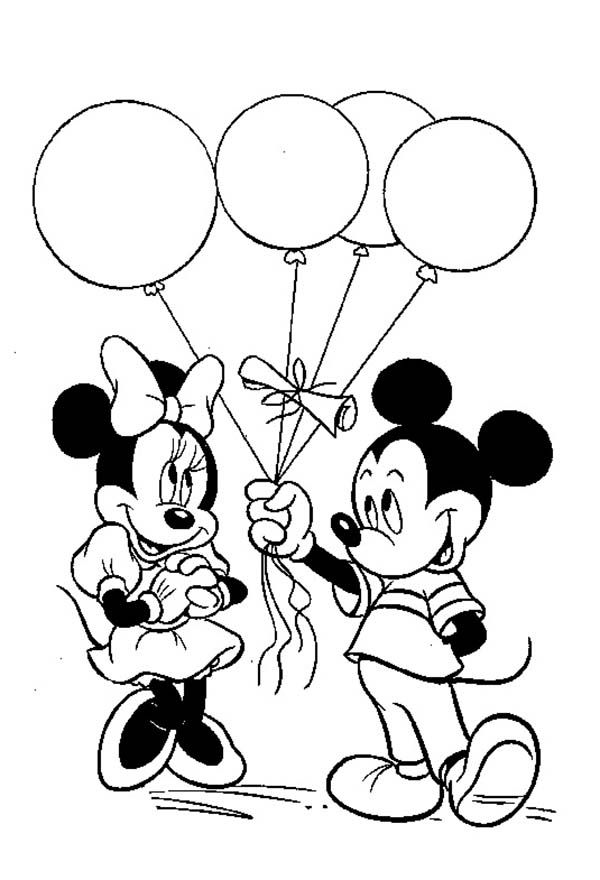Coloring Pages Mickey Mouse Birthday : Mickey give a ballon gift to minnie in mouse
