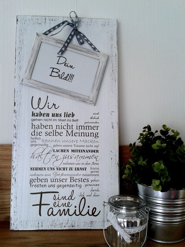 Weißes Holzschild mit Beschriftung, Shabby Chic  / shabby chic home decor, wooden board with lettering made by pfeifers via DaWanda.com