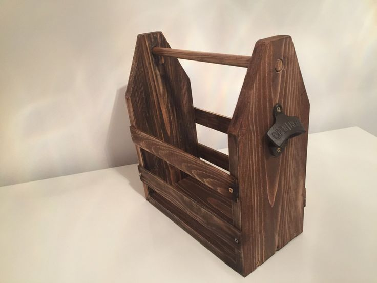 Handmade Rustic Wooden Beer Tote 6 Beer Pack, Inc Cast Iron Bottle Opener. Vintage by YorkshireMadeGoods on Etsy https://www.etsy.com/uk/listing/460275406/handmade-rustic-wooden-beer-tote-6-beer