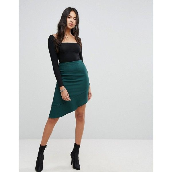 PrettyLittleThing Ruffle Trim Aysmmetric Skirt (36 AUD) ❤ liked on Polyvore featuring skirts, green, going out skirts, high waisted knee length skirt, flounce skirt, green skirt and high-waisted skirt