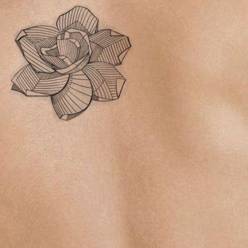 gardenia on light skin | tattoo stencil - temporary tattoo