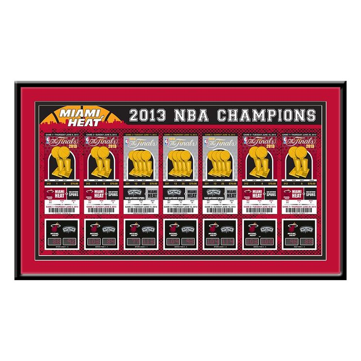 Miami Heat 2013 NBA Finals Tickets To History Framed Print, Multicolor