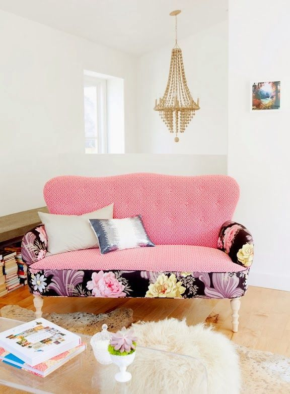upholstery with pattern + plain fabrics #pink #sofa #floral